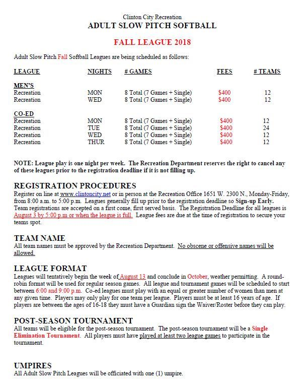 Adult Softball Flyer (Fall 18) page 1