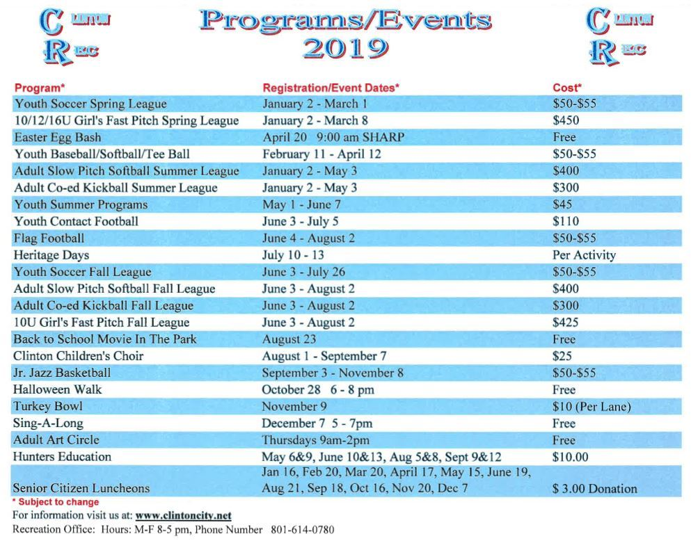 Program Events 2019