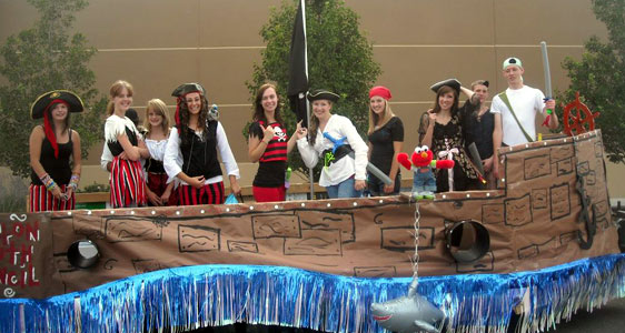 Youth Council members dressed as pirates on a boat float.
