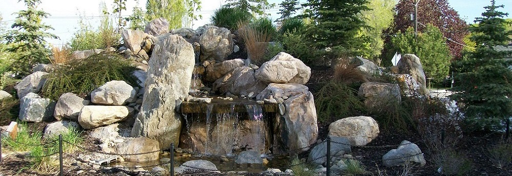 A waterfall at Heritage Park